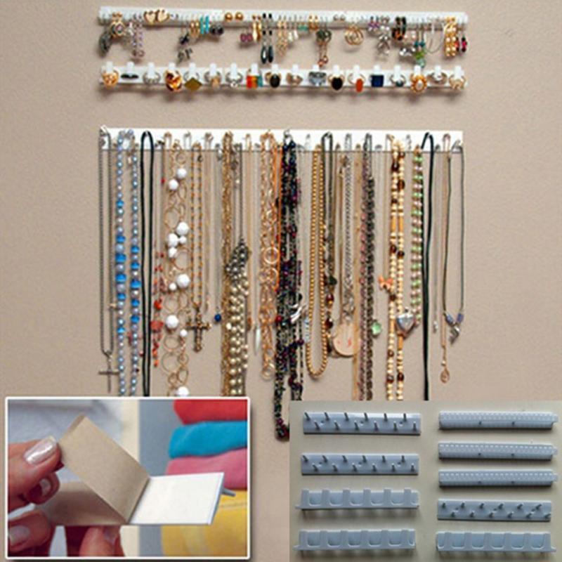 9-в-1 Клей Paste Гобелен хранения Крючки ювелирных изделий Key Organizer ожерелье Вешалка крючок