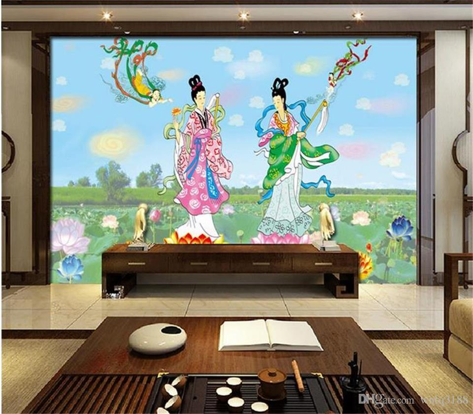 custom size 3d photo wallpaper living room 3d mural ancient Chinese fairy 3d picture sofa TV backdrop wallpaper non-woven wall sticker