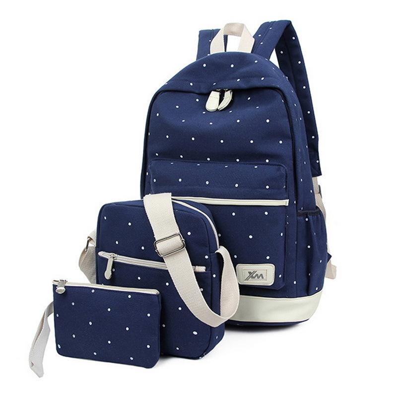 Monerffi 3pcs/set Dot Canvas Printing Backpack Women School Back Bags For Teenage Travel Backpacks Female Schoolbag Backpack Y19051502