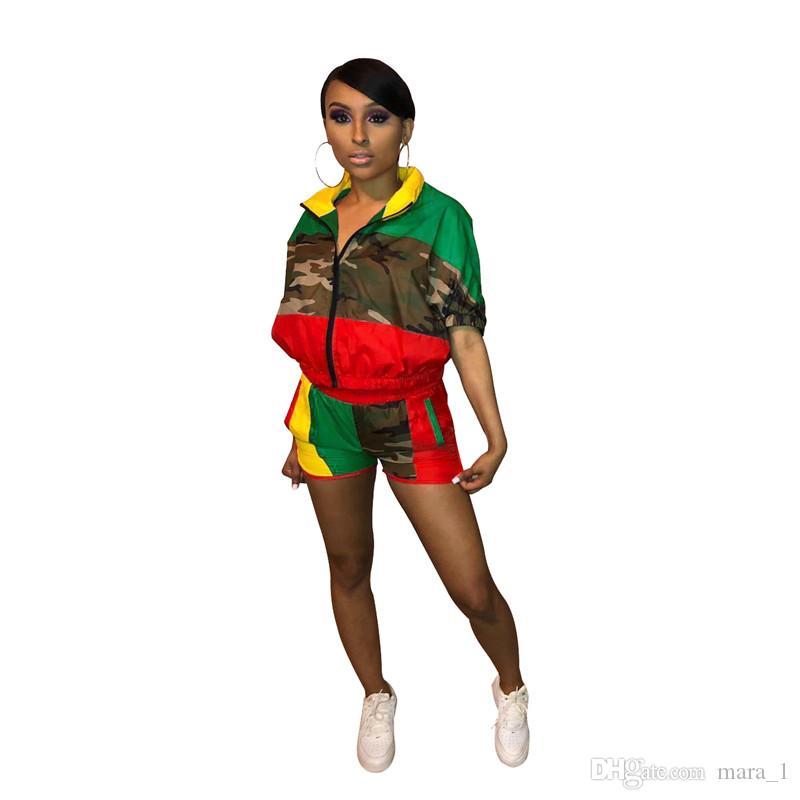Designer women jogging suit Camo Jacket Shorts 2 piece Sets Short Sleeve Windbreaker camouflage Sportswear Summer Tracksuit Panelled Clothes