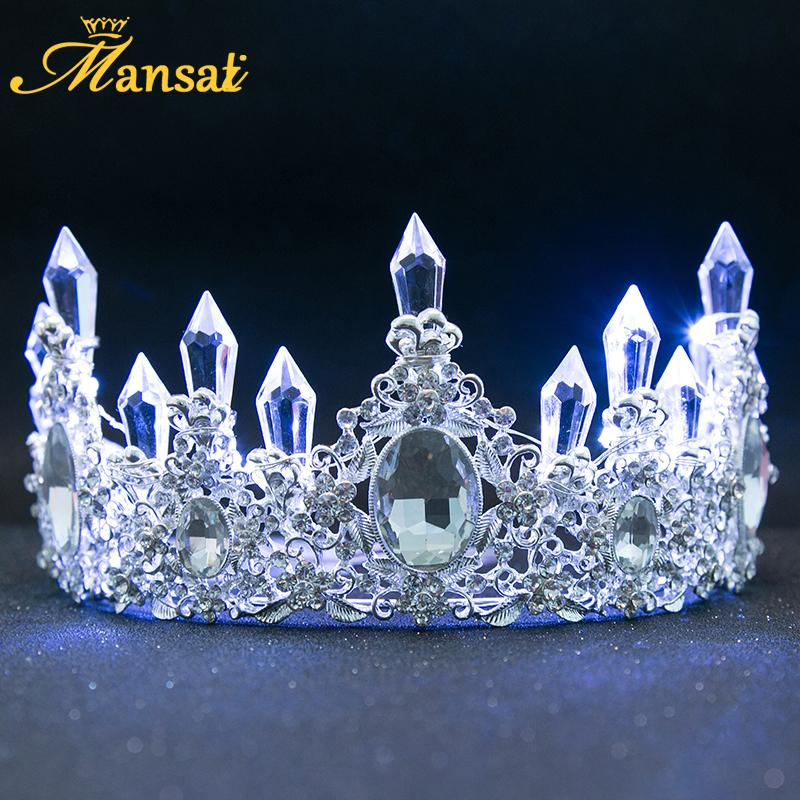 New Shining Glowing Tiaras White Blue Led Light Rhinestone Wedding Crown Luxury Princess Diadem For Bride Hair Accessories Hg107 J 190430