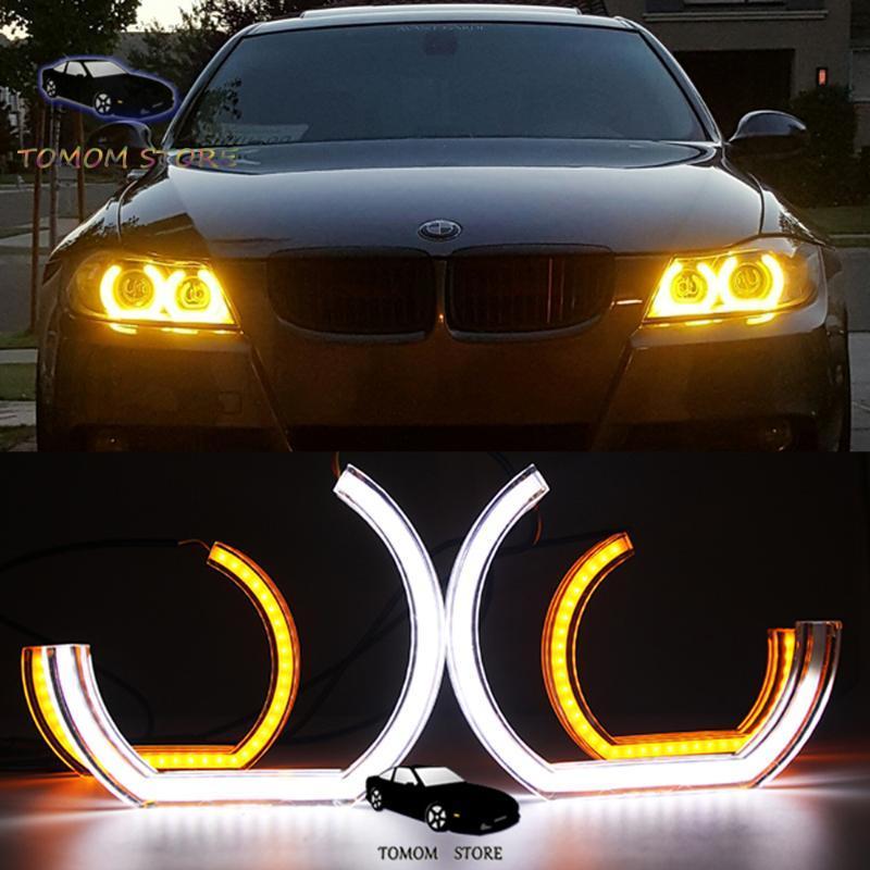 Beyaz Sarı LED melek gözler M5 E81 E82 E87 E88 E90 M3 M4 F10 E92 E93 F30 F31 F34 F35 oto farlar lamba için halka kitleri olarak halodur