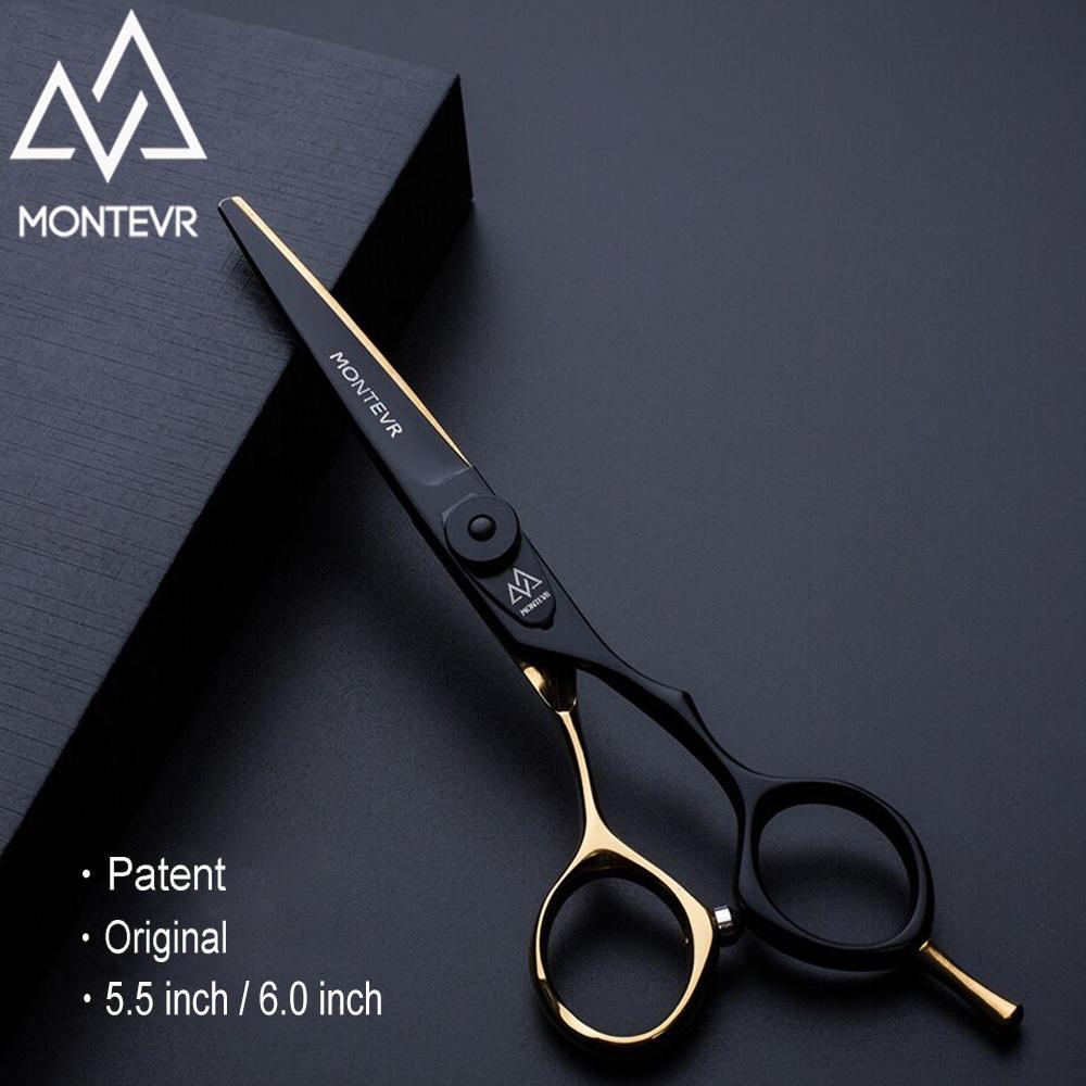 El ayarlı vida saç berber makas ile saç MONTEVR profesyonel 5.5 inç Japonya kuaförlük