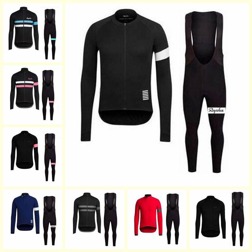 RAPHA team Cycling long Sleeves jersey bib pants sets men MTB bicycle clothing racing sports wear U10912