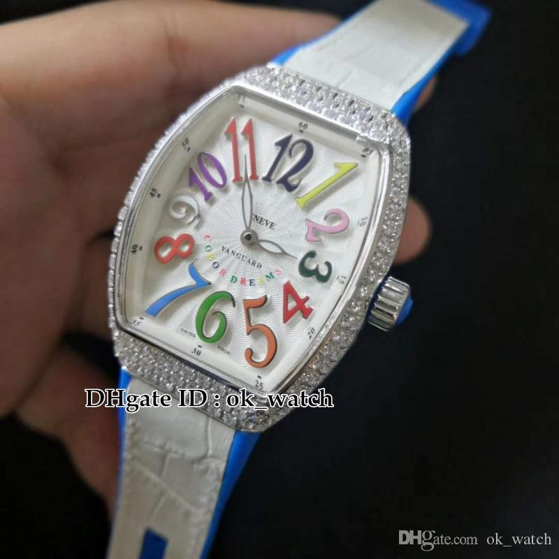 TOP LADIES'COLLECTION V 32 SC FO COL DRM Womens Quartz Watches 33mm White dial Ladies fashion watches white Leather/Rubber Strap