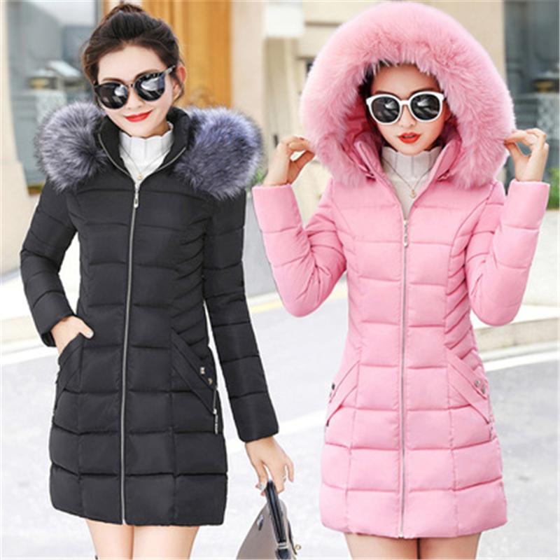 Winter Women Cotton Coats Plus Size Parkas For Women's Long Coats Elegant Female Fur Coat Long Down Cotton Parkas Femme T646