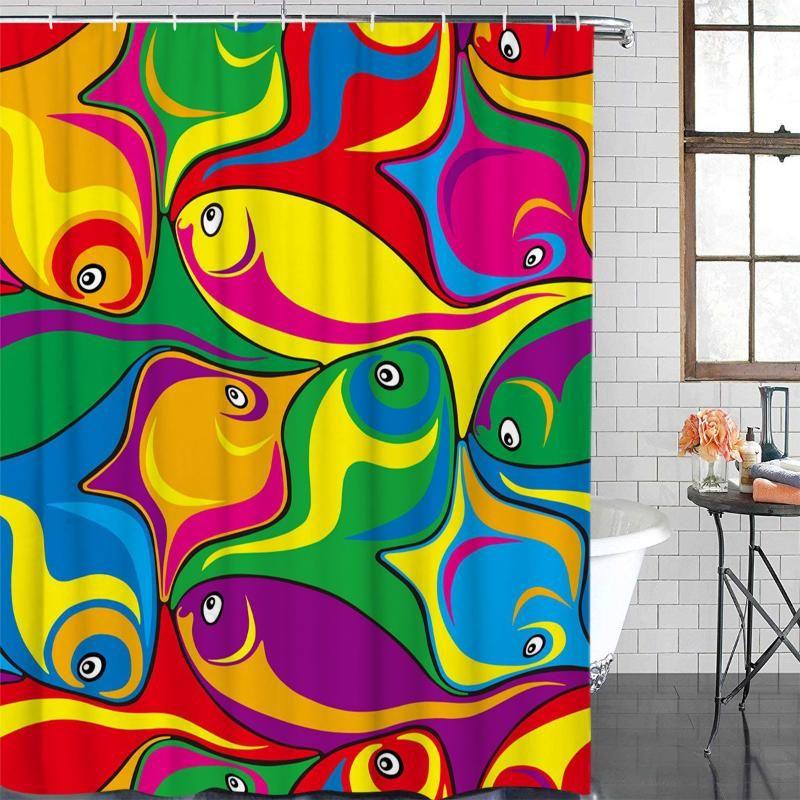 Poliéster cortina de pescado del arte abstracto colorido de baño Plato de ducha Baño de artículos de ducha impermeable cortina 12 Gancho
