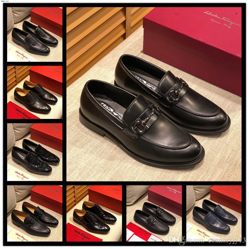 A2 16 style men shoes design Luxury New Mens Gommino Loafers Drive Walk Dress 100% Genuine Leather Slip-On Shoes Size 38-45
