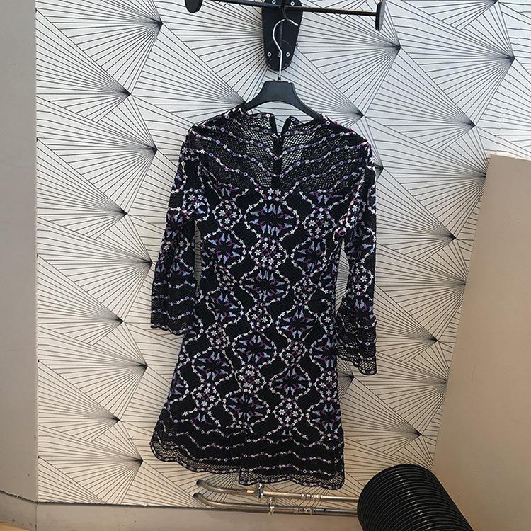2019 primavera verão floral impressão três quartos mangas v pescoço mini vestidos mulheres vestido moda a072121