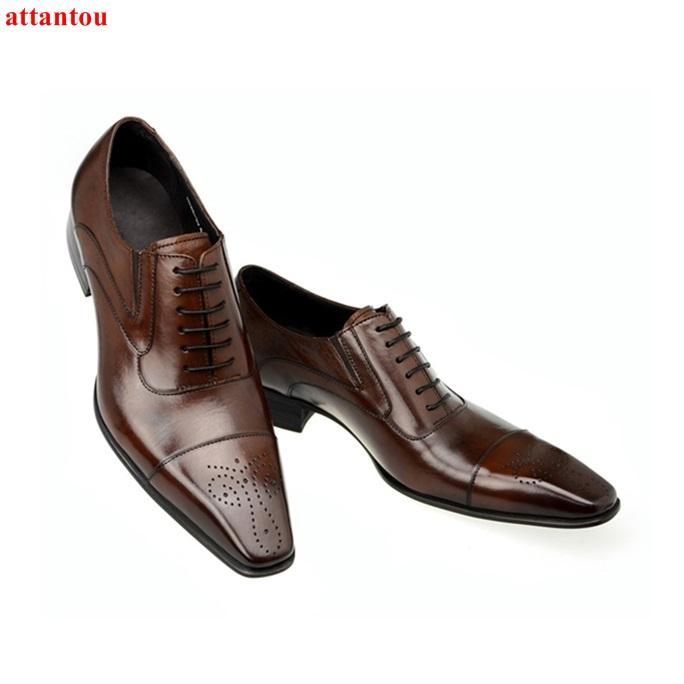 Vente chaude Automne Lace Up Toe Carré Hommes Chaussures Habillées Chaussures En Cuir Marron De Luxe Homme Casual Homme Bureau Fête Formelle