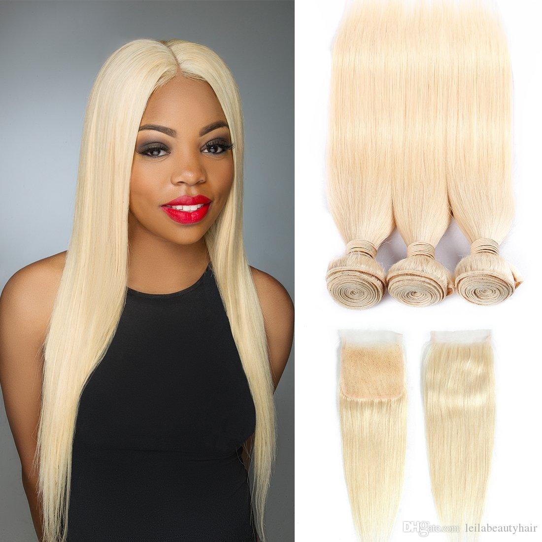 Tessuto brasiliano per capelli Leila Remy di colore biondo con chiusura in stile dritto capelli umani 3 fasci con chiusura in pizzo 613