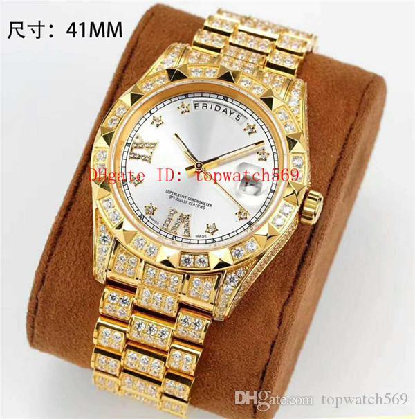 TOP Día Fecha del reloj para hombre reloj suizo automático 28800 vph Dial pulsera de oro 18k 904L de acero inoxidable 28800 vph cristal de zafiro