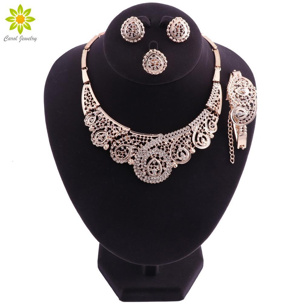 Dubai Schmuck Sets Nigerian Hochzeit Sets 2018 Mode Afrikanische Perlen Schmuck-Set Gold Farbe Ohrring und Halskette Set