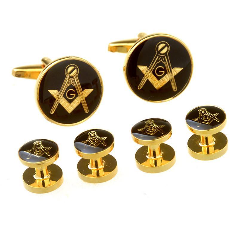 High polished shining brass men's gold round masonic cufflinks and mason button set Mens freemason compass and square shirt cuff link jewel