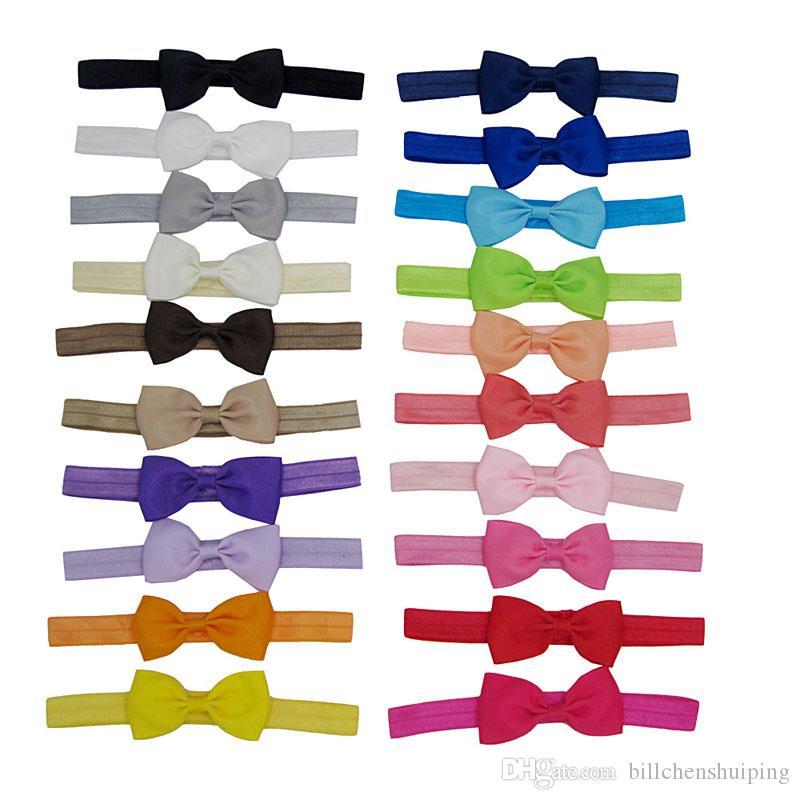 8cm Infantil Color Sólido Arcos Diademas Para Niños Accesorios Para El Pelo Newborn Bowknot Flor Hairbands Baby Girl Fotografía PROP
