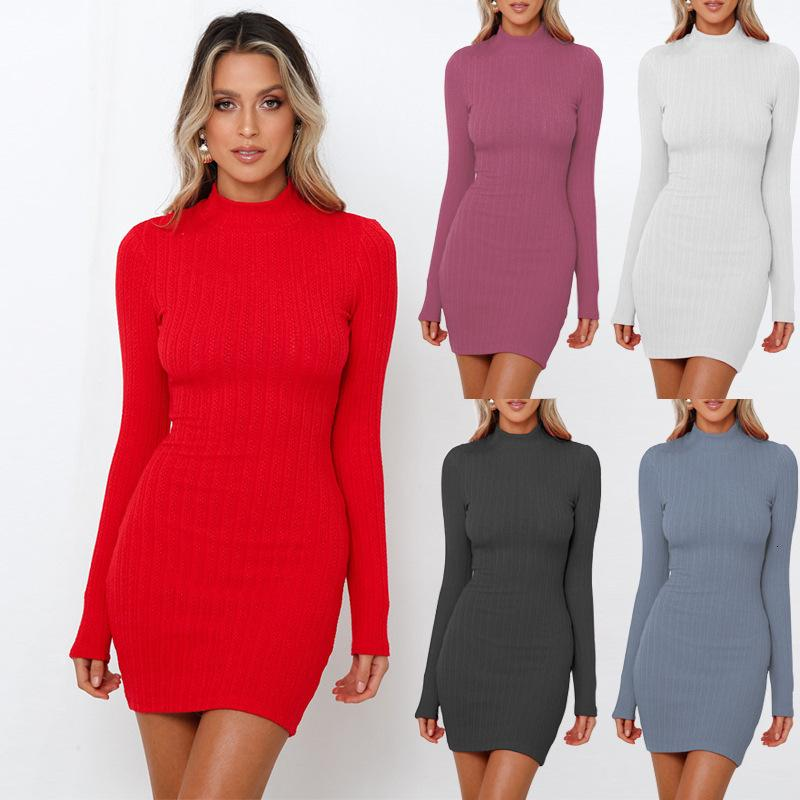 Winter 2019 Evening Package Buttocks Long Sleeve High Quality Soft Sexy New Fashion Comfortable Knitting Dress