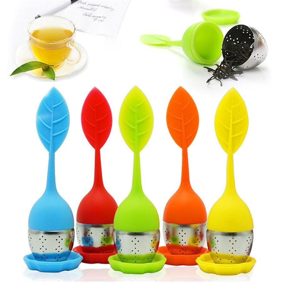 Silikon-Tee-Wiederverwendbare Edelstahl-Sieb Loser Tee Steeper Tee-Kugel Herbal Spice Filter Kitchen Tools JK2006XB