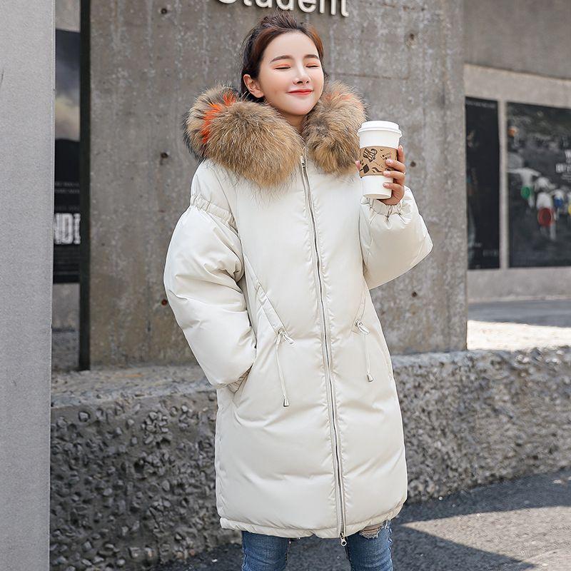 Mit Dünne 2018 Großhandel Outwear Daunenparkas Pelzmantel Gefütterte Winterjacke Große Weibliche Kapuze Baumwolle Dicke Mantel Bunte Lange Jacke Neue trsQhdC