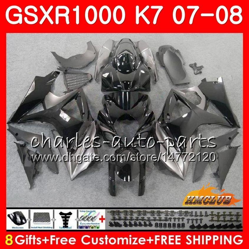 Bodywork pour Suzuki GSXR-1000 GSXR1000 2007 2008 07 08 Bodys 12HC.41 GSX R1000 GSX-R1000 K7 GSXR 1000 07 08 Vente chaude Kit de carénage ABS noir