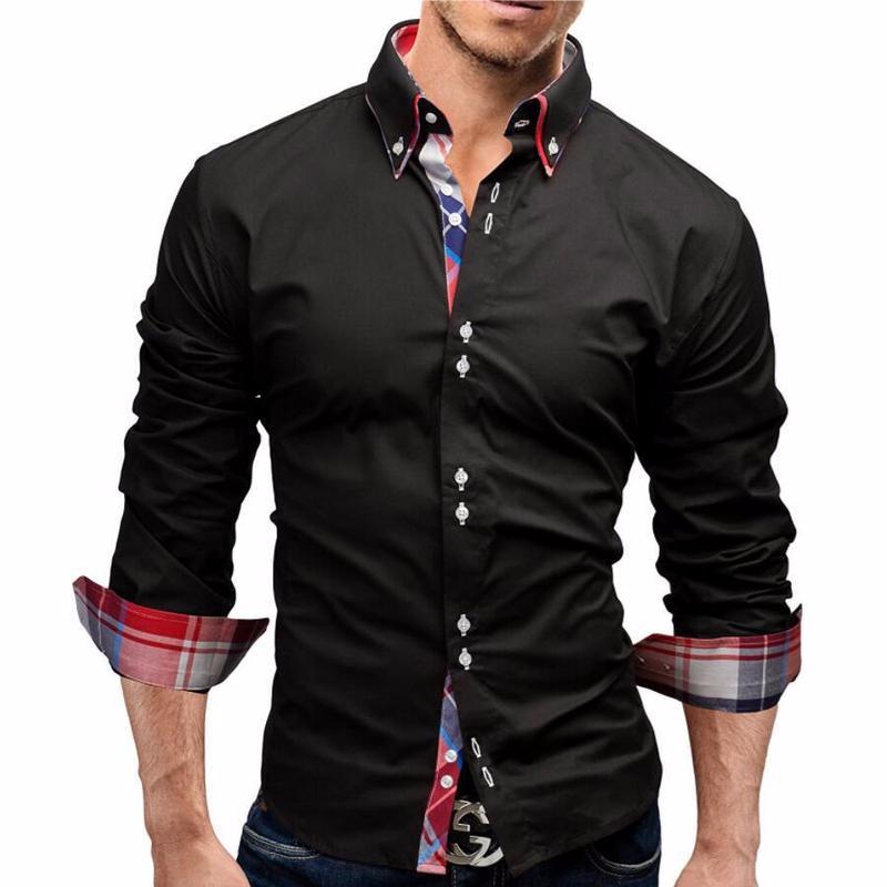Chemises occasionnelles pour hommes Drôle Noir 2021 Hommes Chemise Printemps Longue Dress Solid Homme Cool Slim Fit Homme Coton Tuxedo CS1