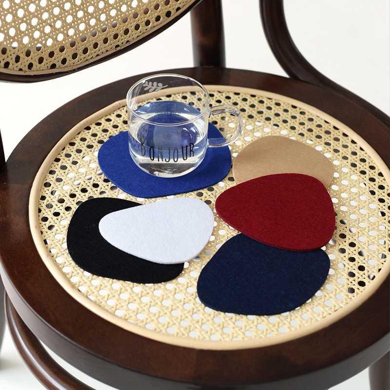 Keçe Kupası Tutucu Düzensiz Geometrik Sigara Odası Dekor Masa Dekorasyon Aksesuarları 10pcs Yemek Coasters Ev İçki dokuma