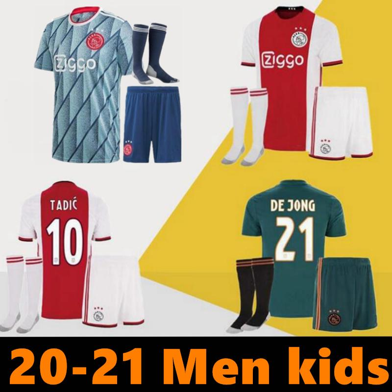 2021 Ajax FC de Futebol Home Kids kits 20/21 personalizadas # 7 Neres # 9 HUNTELAAR # 10 Tadic # 11 PROMES # 22 ZIYECH Football Shirt
