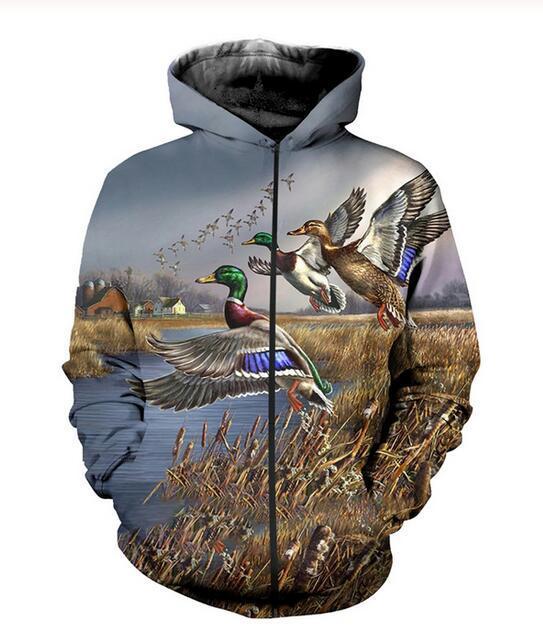 Neue Art und Weise Unisex Sweatshirt Pullover Männer Frauen Jagd Ente Sweatshirts Harajuku Maxi-Reißverschluss-Jacken-Kleidung