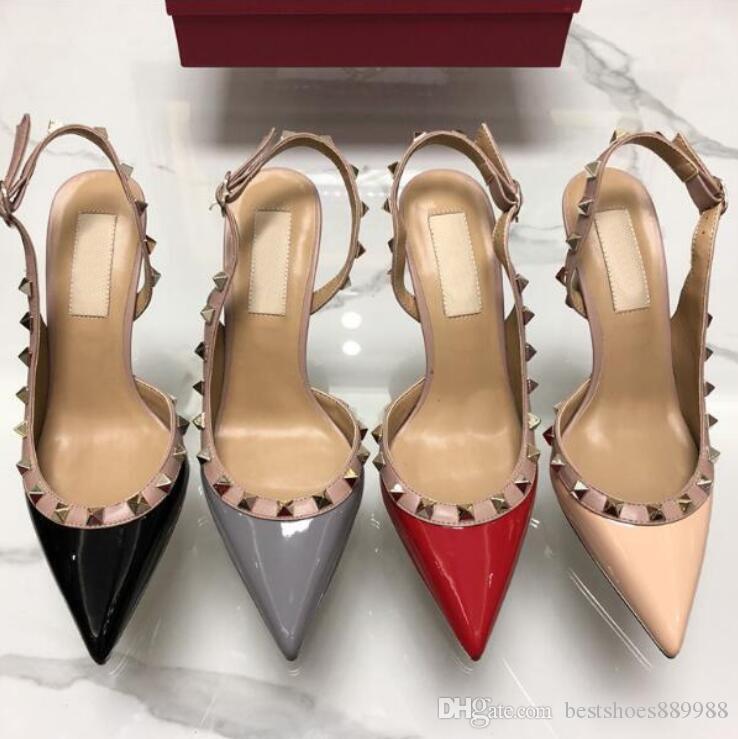 classiques femmes marque chaussures talons hauts rivets sandales rivets en cuir verni femmes chausse bout pointu grande taille 34-43 v boîte logo