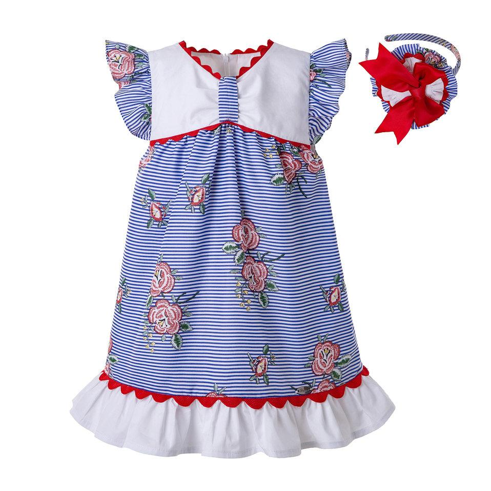 Pettigirl 여름 블루 로즈 스트라이프 인쇄 퍼프 소매 Wove 디자인 여자 아기 드레스 캐주얼 아이 드레스 부티크 의류 G-DMGD203-65
