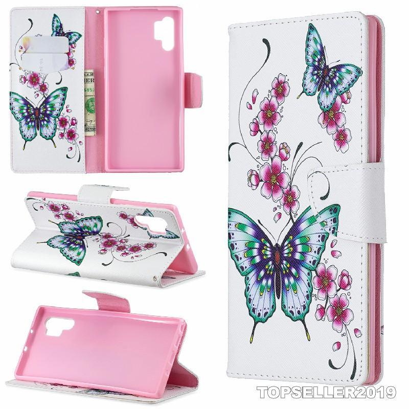 Para SAMSUNG Nota 10 PRO Stands estilo carteira colorida Designer Couro Telefone Capa Bag Com Telefone Card Case E B305 Suporte