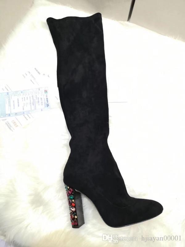 Scarpe 2019 Designer Inverno New Luxury Fashion Boots donne casuale coscia-alta stivali delle donne da 35 a 42 iarde 4.5cm tacco grigio 156 0925