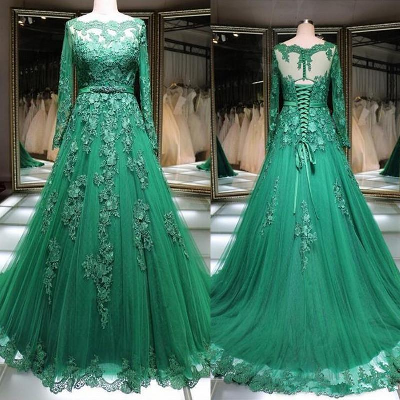 2020 Sexy Elegant Woman Plus Size Long Sleeves Prom Green Lace Dresses Long Arabic Evening Gowns Formal Party Gala Dress Ball Gown