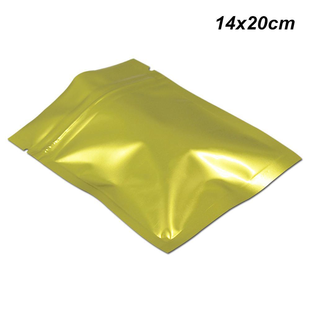 14x20cm 100pcs Lote ouro Mylar Auto selável Folha Zipper sacos de embalagem para frutas secas Nozes Mylar Resealable folha de alumínio da embalagem Pacote Bag