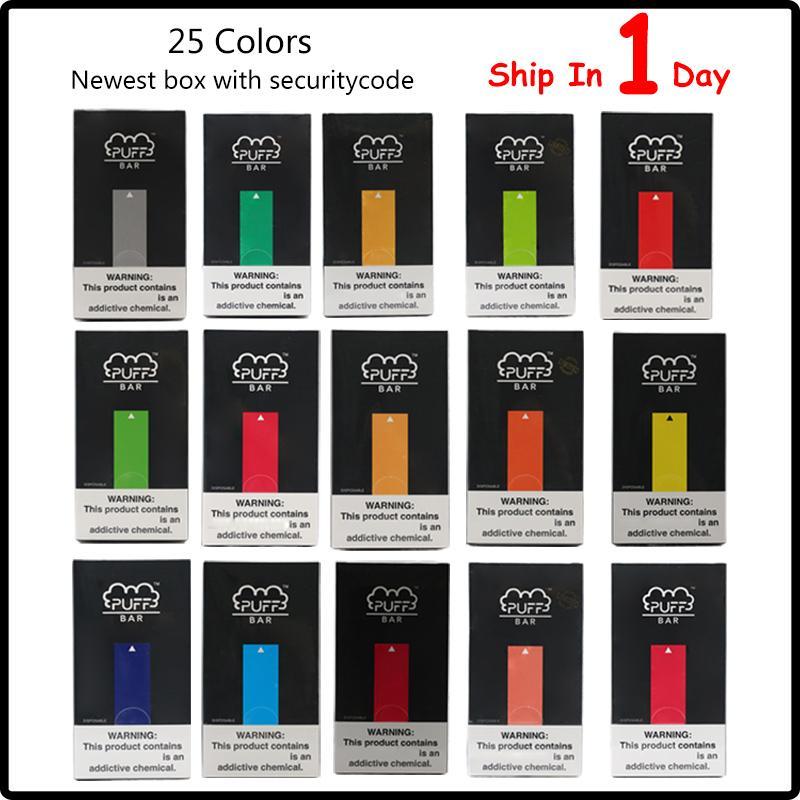 Новые Упаковка Puff Bar Одноразовые устройства 1,3 мл Pod Kit 280mAh батарея с кодом безопасности шикарно стручок Vape ручкой