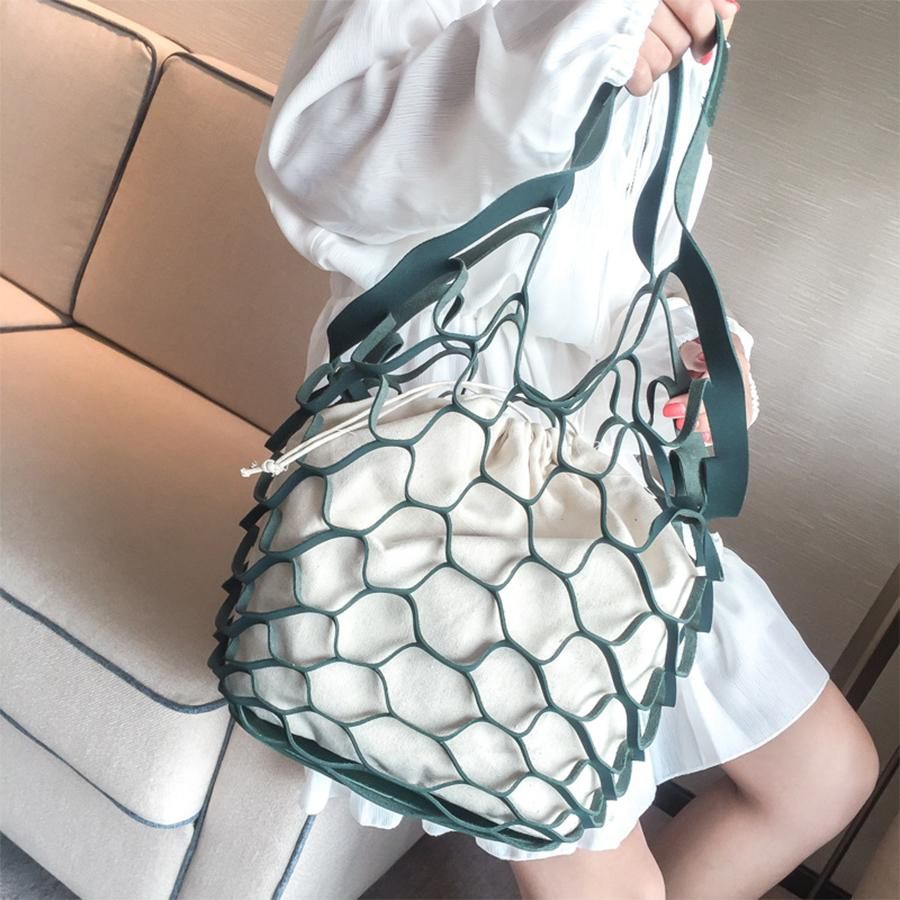 Hollow Out Mesh Design Women Handbag Canvas String Composite Bags Brand PU Leather Summer Beach Bags Holiday Women Tote 2018 New Y190606