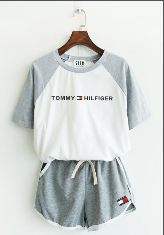 2YYNew designer sportswear luxury undershirt summer brand joggingTOMMYsuit T-shirt + pants designer luxury tracksuit