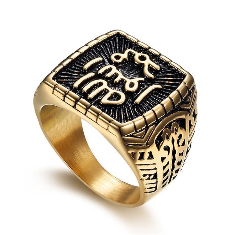 anel de moda religiosa anel muçulmana fonte quadrada de aço 316L de titânio anel de aço inoxidável