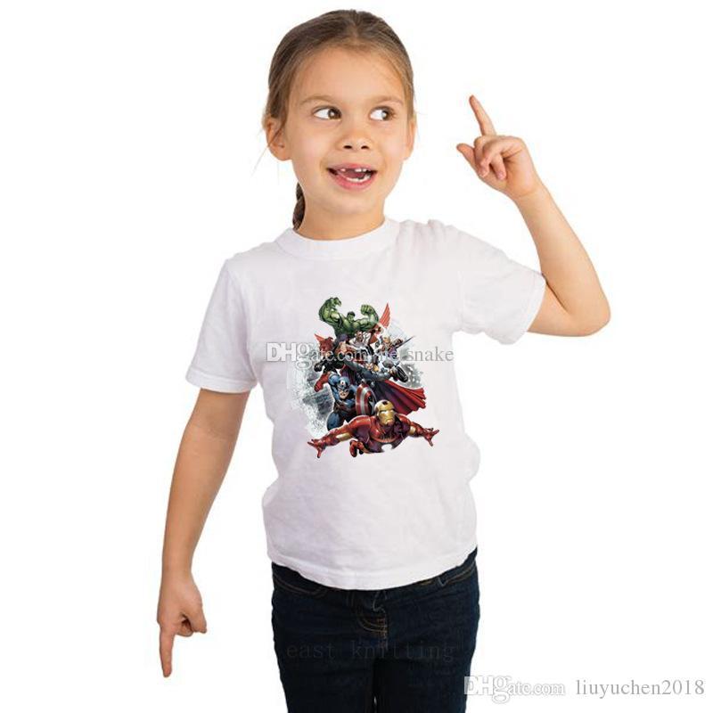 2019 أحدث فيلم خارقة الأعجوبة كاريكاتير أبيض قصير الأكمام القطن تي شيرت الصيف ارتداء النسيج الناعمة للأطفال