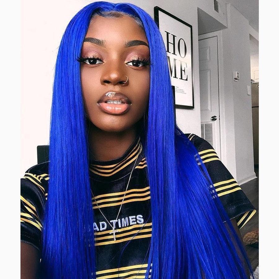 613 blu dei capelli del merletto dei capelli di Glueless 13x6 merletto della parte anteriore umano parrucche Pre pizzico linea sottile parrucche piene con bambino capelli ossigenati Nodi