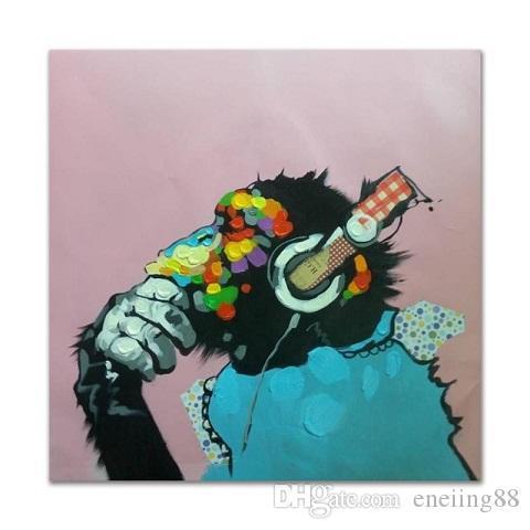 Gorille Écouter De La Musique Peint À La Main Drôle Animal De Bande Dessinée Mur Art Peinture À L'Huile Décor À La Maison Sur Toile.Multi tailles / cadre Options A120