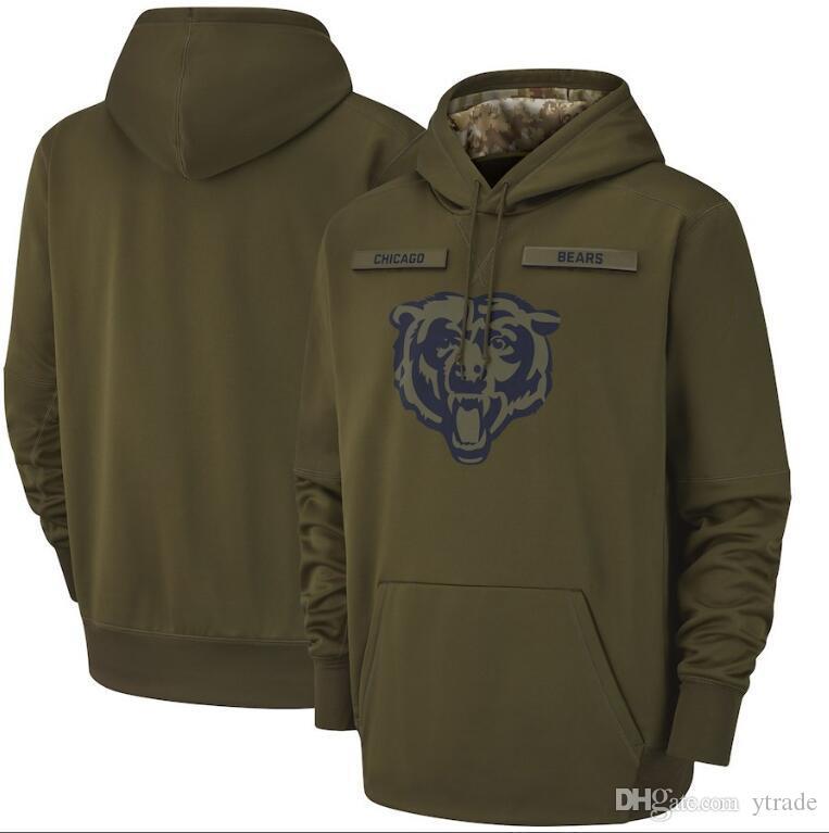 2019 Chicago Salute to Service Olive Hoodie Men Bear Sweatshirt Hoodies Pullover Atumer Winter Coat