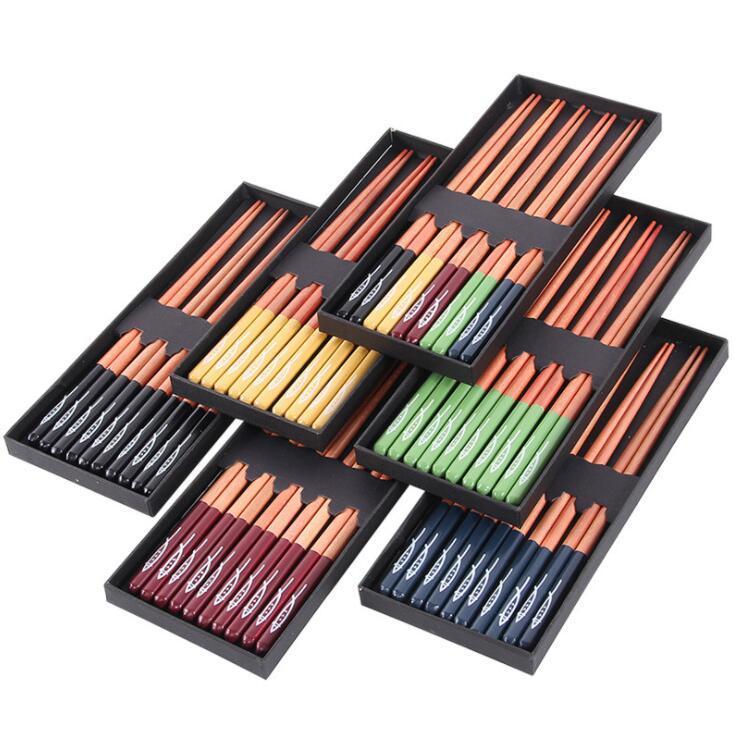 Японские Деревянные Палочки Коробка из 5 пар заостренных Палочек небольшого подарка Boxs часто используемого в Использовании Wooder сервизы Tool LSK150