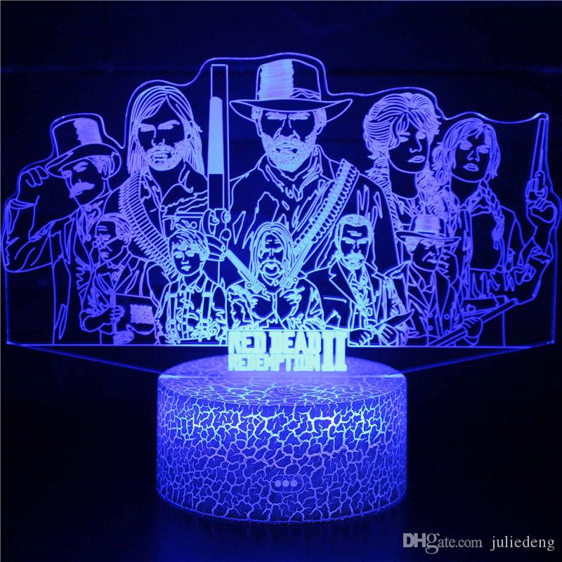 APEX Night Light Collection 3D Magic Color Changing Red Dead Redemption LED Night Light for Kids Bedroom Biirthday Gift