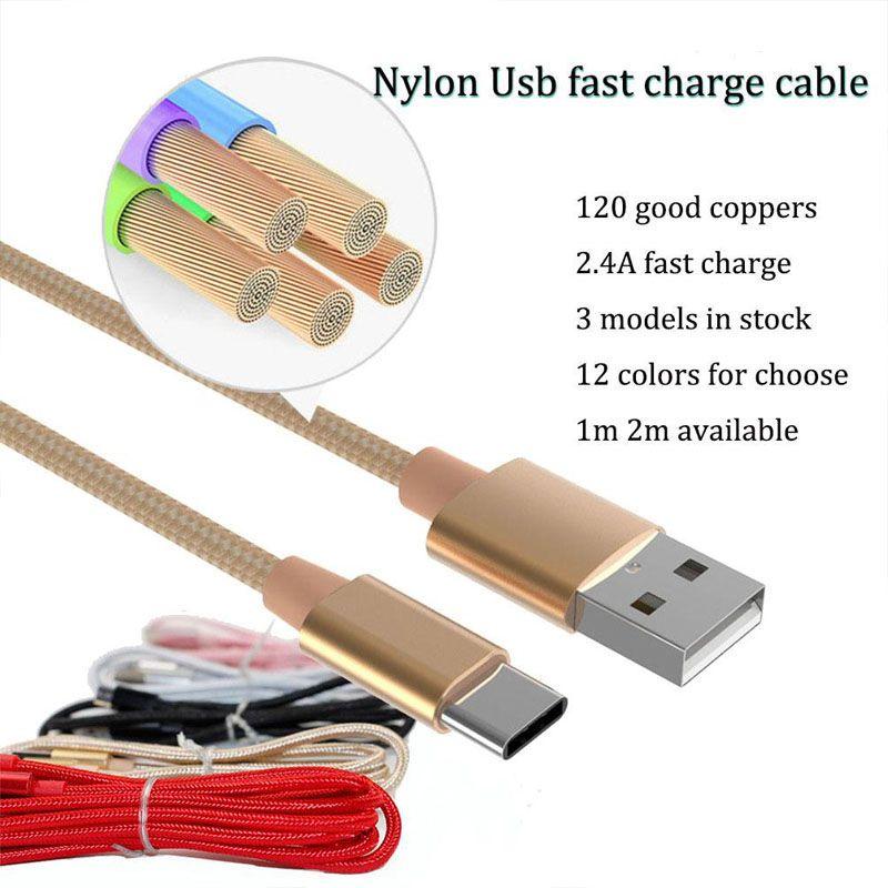 Tecido Nylon Braid Micro USB tipo c chumbo Cabo Unbroken metal conector do carregador de cabo para Samsung S7 6 5, HTC, telefone Android