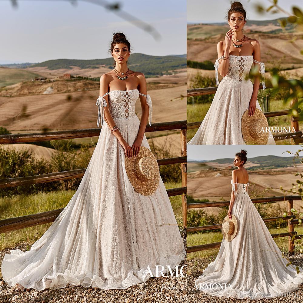 Bohême récent Tmarmonia Une ligne Robes de mariée bustier sans manches en tulle dentelle Applique perles Robes de mariée balayage train robe de mariée