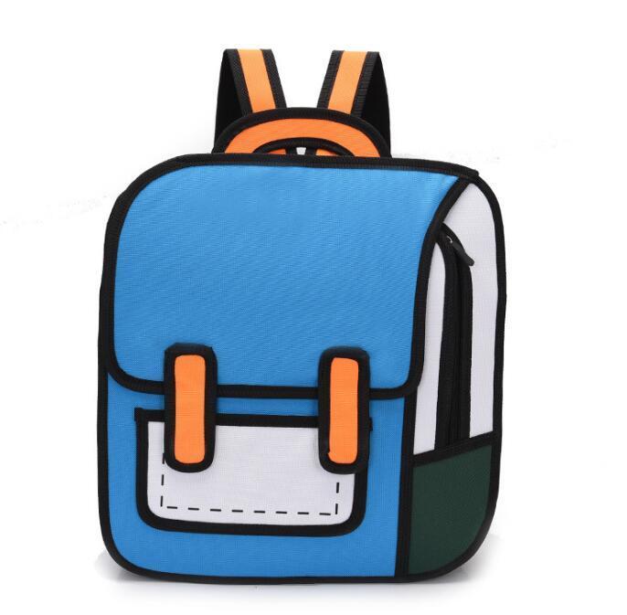 Дизайнер мужской мультфильм мультфильм Двумерная Рюкзак Luxury Special Личность Стиль рюкзак Студент ранцы высокого качества