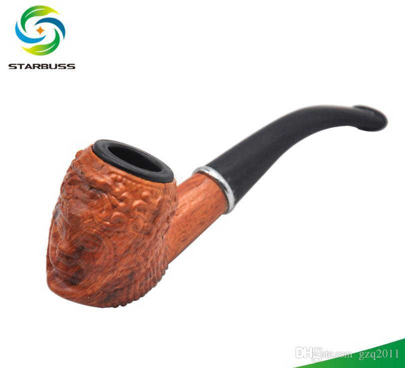 New Classic Wood Pipe Text Long Handle Flat Nozzle Modeling Tobacco Tool