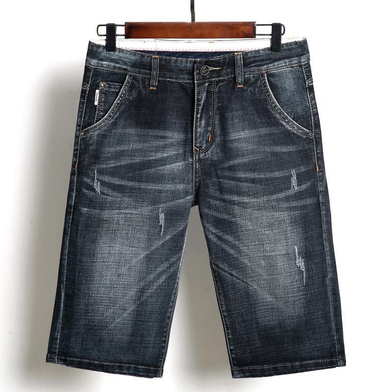Male Scratch Short Pants Biker Knee Length Luxury Hip Hop Jeans Jogger Streetwear Style Casual Slim Fit Denim Shorts For Men