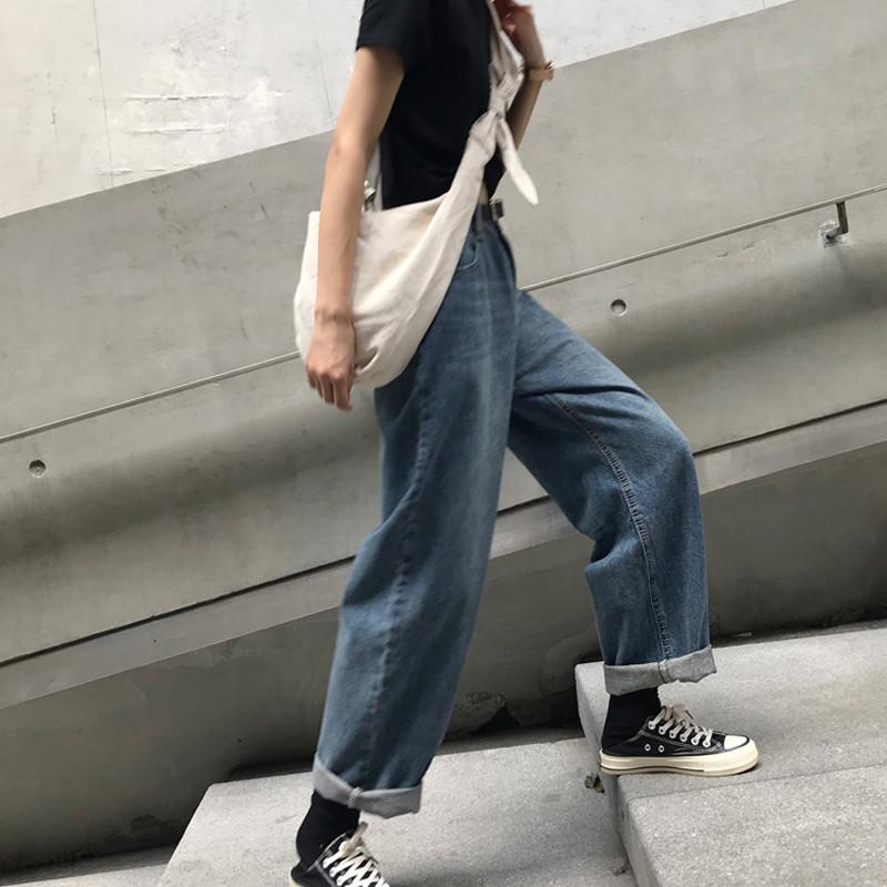 Blue Vintage Women's Jeans High Waist Loose Wide Leg Denim Pants Casual Summer Fashion Straight Washed Jeans For Women YT50278