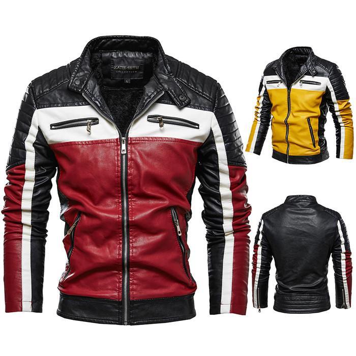 남성 재킷 패션 하이 스트리트 레드 옐로우 컬러 매칭 가죽 자켓 오토바이 스트리트 캐주얼 착실히 보내다 M-4XL